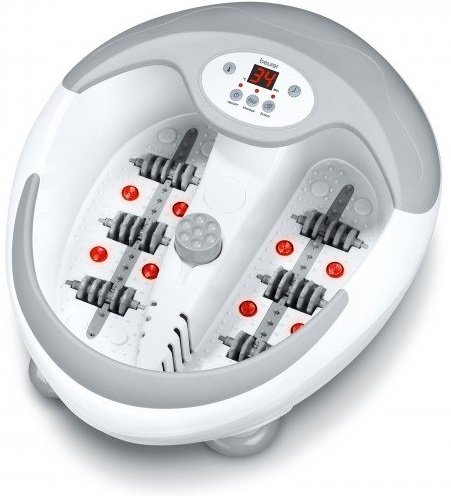 Vanička je šedobílá. Je kulatá. uvnitř má zvlášť místo na levou nohu a zvlášť na pravou. Uprostřed je vyvýšený výstupek, kde jsou umístěny nástavce pro pediúru. Pro každou nohu jsou vestavné trysky, masážní válečky, infrařervené diody. nahoře přístroje Beurer FB 50 je umístěn displej ,kterým se vše ovládá.