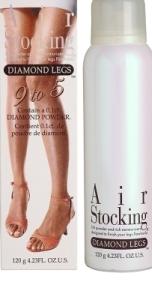 Silonky ve spreji je bílá lahvička s bílým víčkem. Na láhvi je jen jednoduchý nápis Airstocking Diamond Legs . Vedle je papírový obal spreje. na něm jsou krásné dámské nohy, které se třpytí.