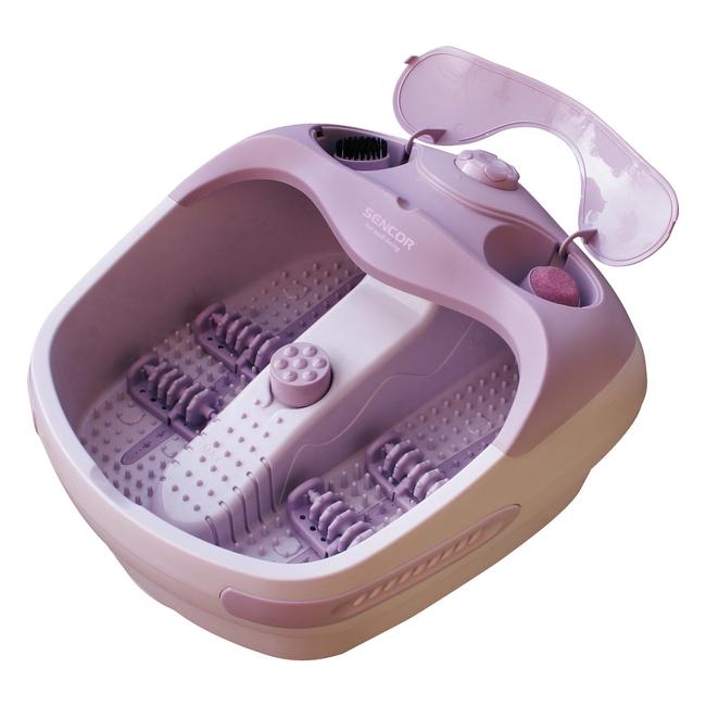 Masážní vanička na nohy ve fialové barvě. Kryt na masážní nástavce.